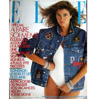 ELLE du 1er juillet 1985 une veste en jean avec écussons colorés