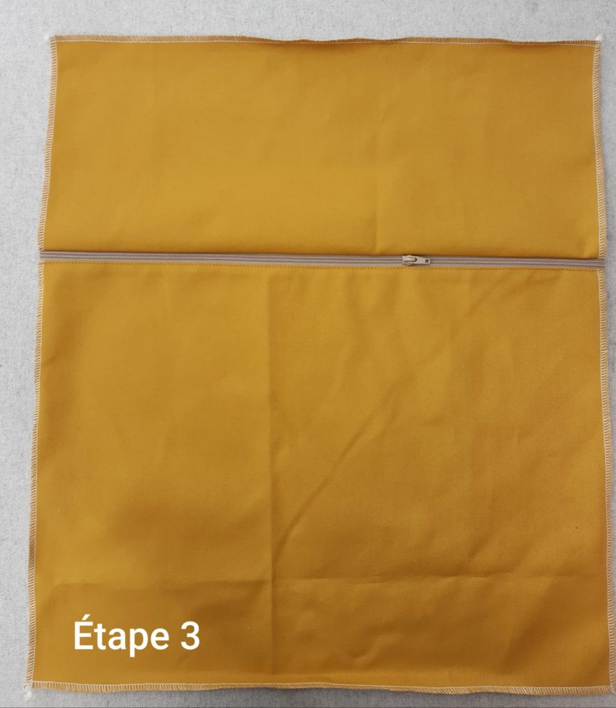 Tuto : Coussin déhoussable - couture fermeture étape 3
