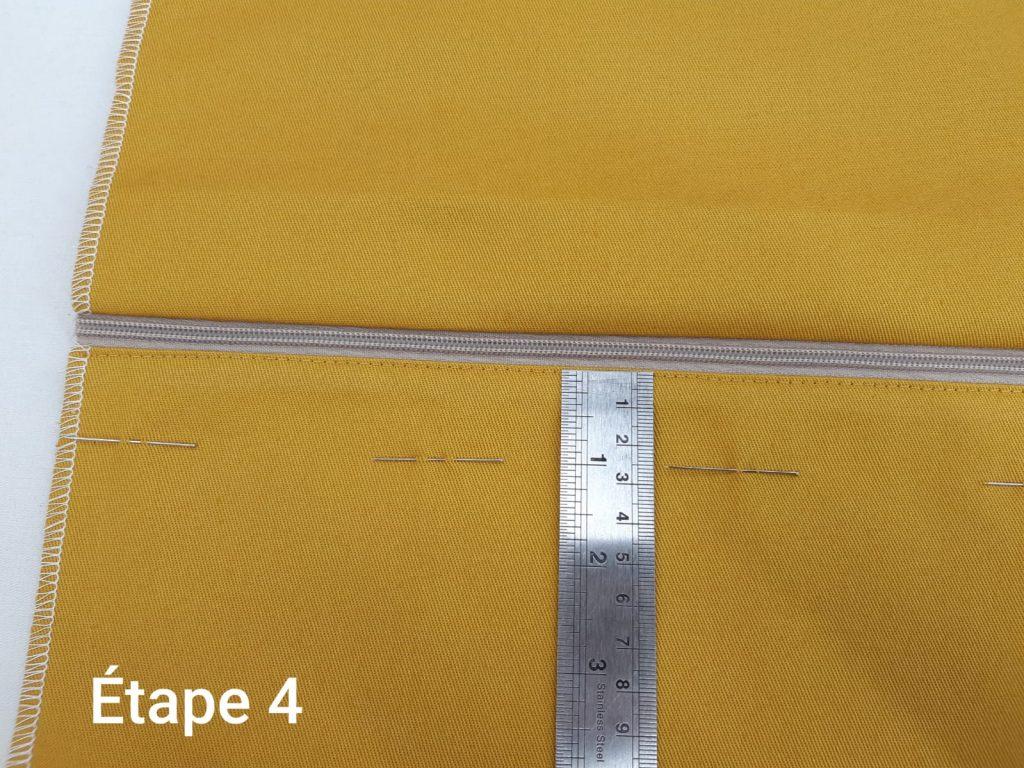 Tuto : Coussin déhoussable - couture fermeture étape 4