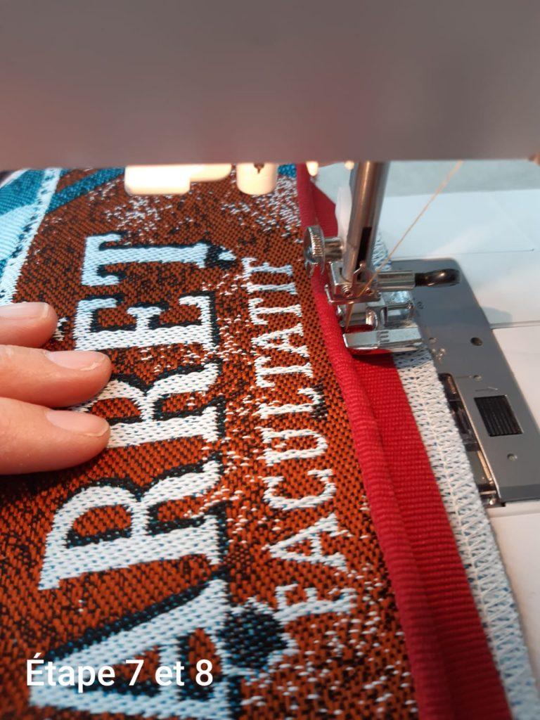 Tuto : Coussin déhoussable - couture passepoil étape 1